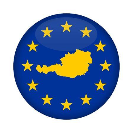 european union flag: Austria map on a European Union flag button isolated on a white background.