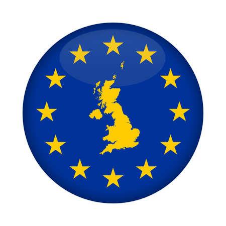european union flag: United Kingdom map on a European Union flag button isolated on a white background. Stock Photo