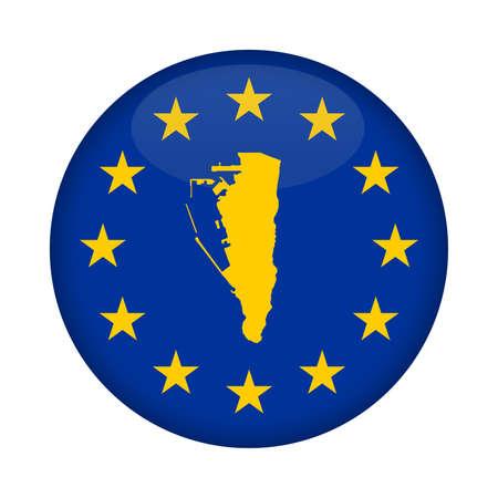 european union flag: Gibraltar map on a European Union flag button isolated on a white background.