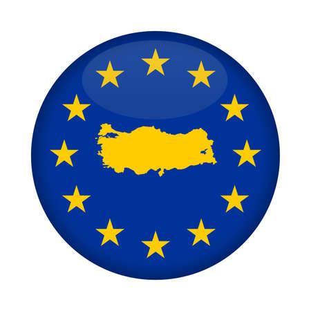 european union flag: Turkey map on a European Union flag button isolated on a white background. Stock Photo