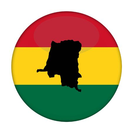 zaire: Zaire map on a Rastafarian flag button, white background.