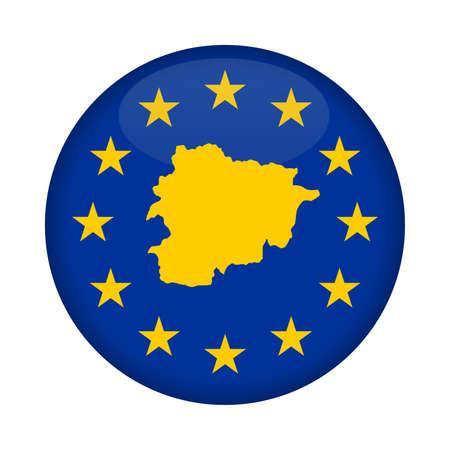 european union flag: Andorra map on a European Union flag button isolated on a white background. Stock Photo