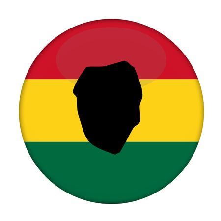 sierra leone: Sierra Leone map on a Rastafarian flag button, white background.