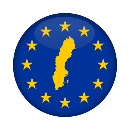 sweden map: Sweden map on a European Union flag button isolated on a white background.