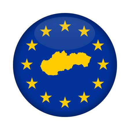 european union flag: Slovakia map on a European Union flag button isolated on a white background.