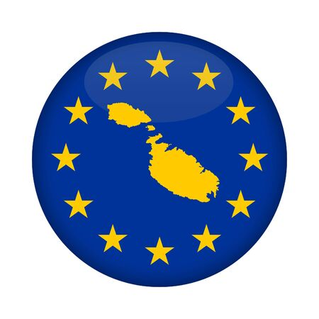 malta map: Malta map on a European Union flag button isolated on a white background.