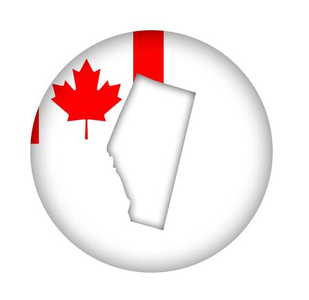 alberta: Canada state of Alberta map flag button isolated on a white background. Stock Photo