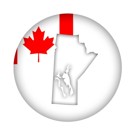 Canada state of Manitoba map flag button isolated on a white background. Stock Photo