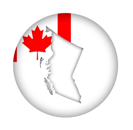 canadian state flag: Canada state of British Columbia map flag button isolated on a white background.