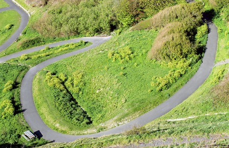 hillside: Overhead view of a winding path on a hillside.
