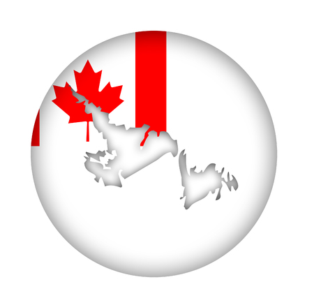 newfoundland: Canada state of Newfoundland Island map flag button isolated on a white background.