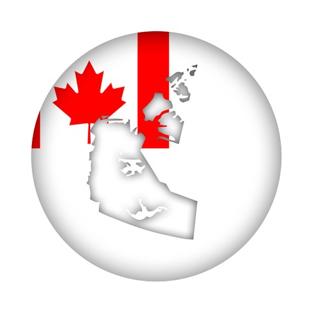 canadian state flag: Canada state of Northwest Territories map flag button isolated on a white background.