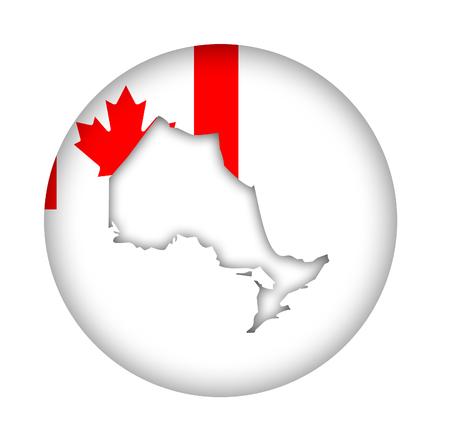 canadian state flag: Canada state of Ontario map flag button isolated on a white background.