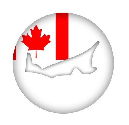 edward: Canada state of Prince Edward Island map flag button isolated on a white background. Stock Photo