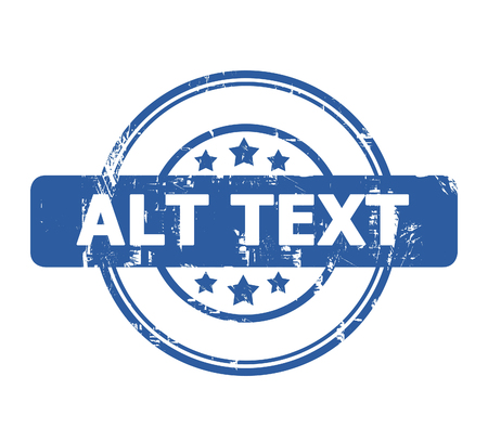 alt: Alt Text stamp with stars isolated on a white background.