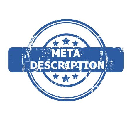 meta: Meta Description Stamp with stars isolated on a white background.