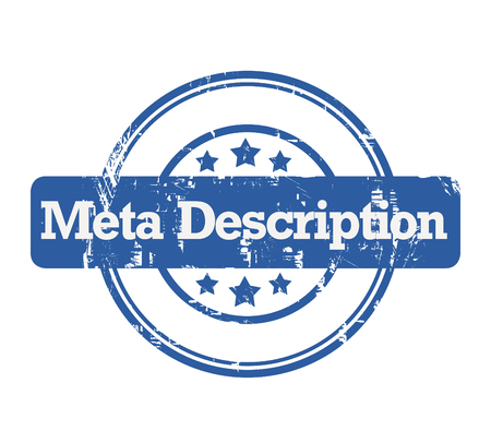 Bollo blu di SEO Meta Description con le stelle isolate su un fondo bianco. Archivio Fotografico