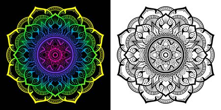 Applied Thai art pattern in Mandala style In the 8-petal flower. Gradient vector illustration from yellow, green, blue, purpleAnd the black filigree on the white ground.