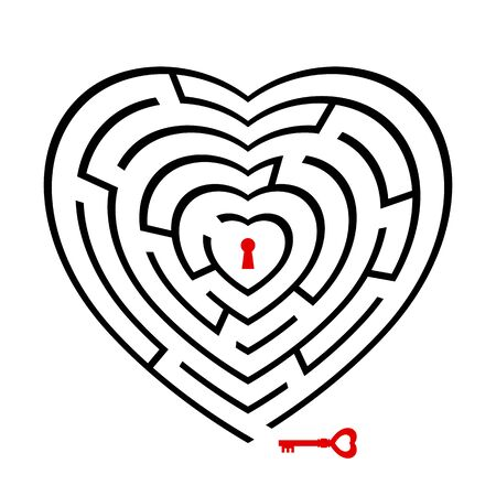 Red key heading to the inside of the heart shape vector maze. To find love and exit.