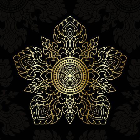Thai pattern art, Vector golden lines. Pentagon shape on a black background.