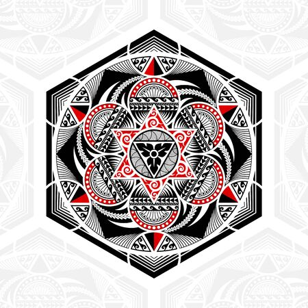 Thai pattern mixed art Polynesian art, Mandala art in hexagonal shapes, six-pointed stars and circles, black-red stripes on a white background