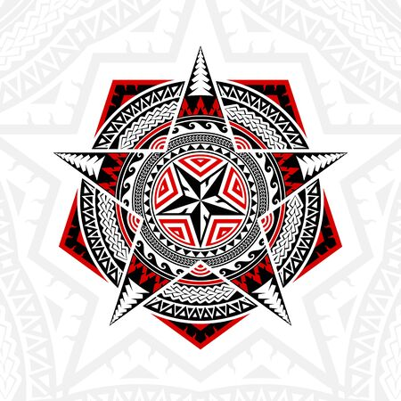 Thai pattern mixed art Polynesian art, Mandala art in Pentagon shapes, five-pointed stars and circles, black-red stripes on a white background
