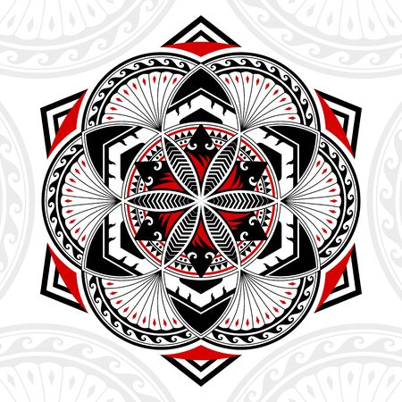 Thai pattern mixed art Polynesian art, Mandala art in circles shapes, six-pointed stars and hexagonal, black-red stripes on a white background.