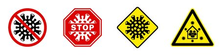Set signal stops for the Covid-19 virus and the Corona virus. Warning sign Be careful to stay at home.Traffic sign, circle, triangle, square, octagon. Isolated vector illustration.