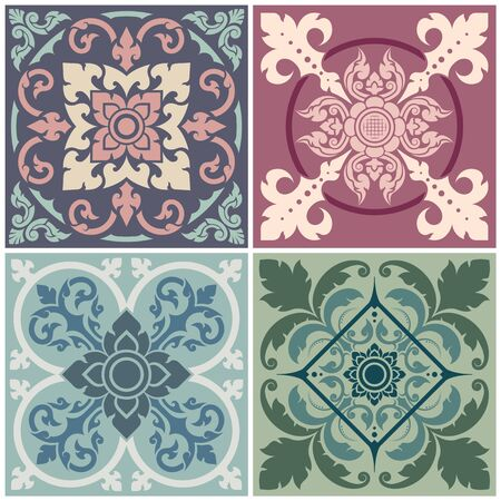 Set of decorative patterns Thai art style. Vector images that can be used with wallpapers, floors, walls, and the surface of textiles.