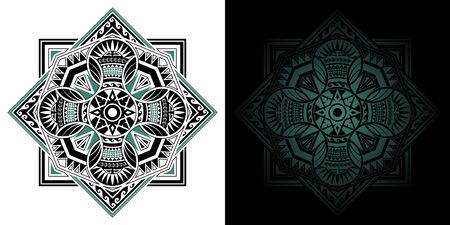Geometric Thai pattern mixed art, polynesian art, mandala art. The circles in the square are overlapping. Left image is merge, Right image is isolated. Vector Illustration.
