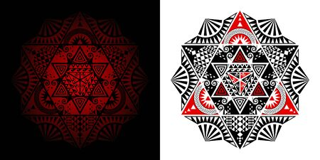 Geometric Thai pattern mixed art, polynesian art, mandala art. In the shape of hexagons, triangles and six-pointed stars. Left image is merge, Right image is isolated. Vector Illustration.