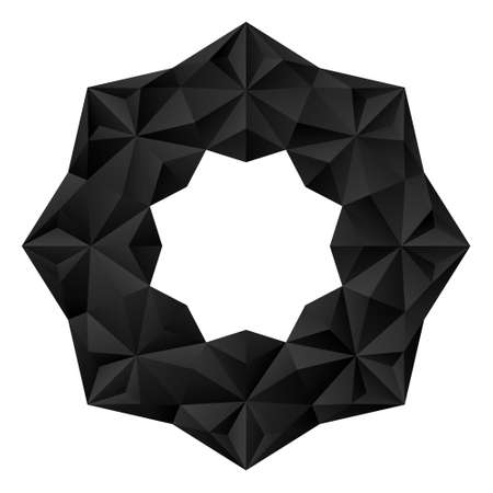 3D black geometric eight-pointed flower. Arranged in an origami mandala style. Vector illustration.