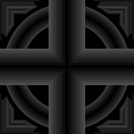Seamless geometric pattern, criss-cross and circle black pipe shape, 3D right-angled edge.