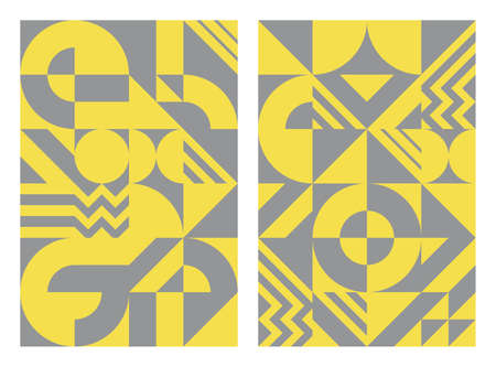 Abstract background scandinavian style, geometric shapes and lines. Color trend 2021 yellow and gray. Compositions for design, book cover, printing, poster, tile, web, wall. Vector illustration.