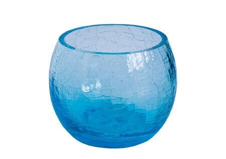 round blue glass vase isolated on white Stock Photo