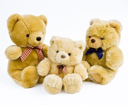3 Teddy bears isolated on white Stock Photo