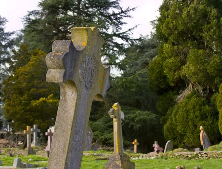 One stone cross in the foreground with othe well kept graves behind