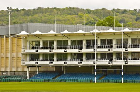 View of the empty grandstand in Bath Rugby stadium