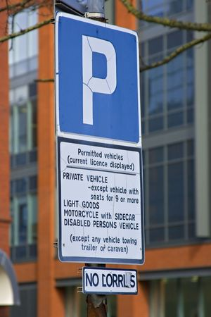 Parking sign for a parking lot in the city of Bristol