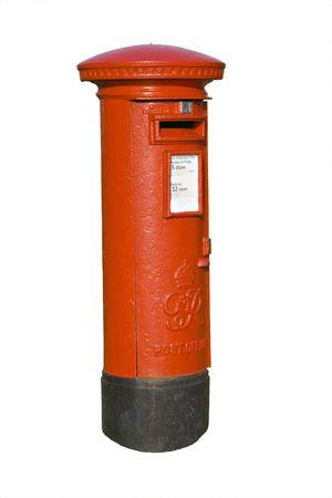Traditional red british mail pillar box