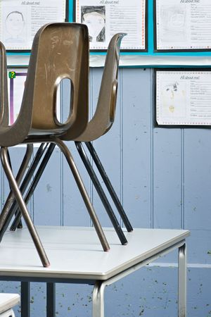 schooldesk: School chairs up on the desks at the end of the school day
