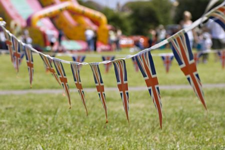 A string of Union Jack Bunting at a traditional English Fete