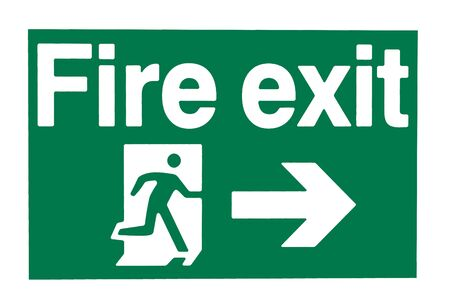 somebody: A green and white waring sign showing a fire exit Stock Photo
