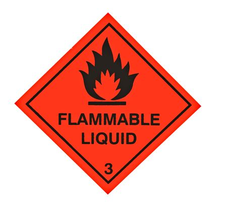 A red diamond shaped sign warning of flammable liquid Stock Photo
