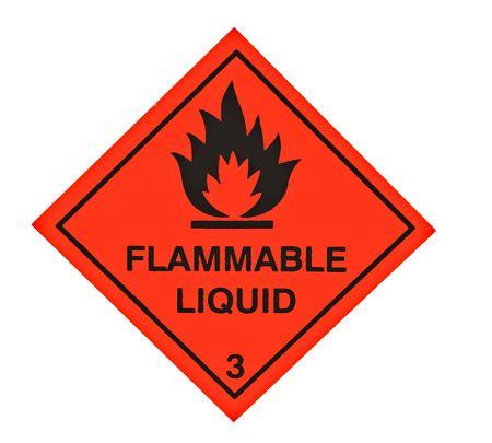 A red diamond shaped sign warning of flammable liquid Standard-Bild