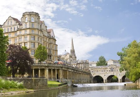 View of the Pulteney Bridge River Avon in Bath, England Stock Photo