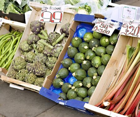 Fresh fruit and vegetables for sale in a street market photo