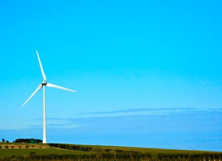 A single wind turbine stood on a hill Stock Photo - 7035809