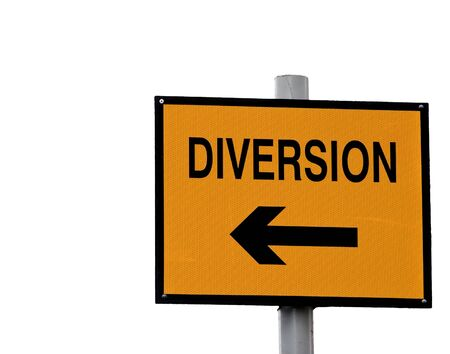 Yellow and black diversion sign isolated on white photo