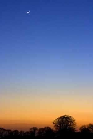 A crescent moon at sunset above silhouetted trees